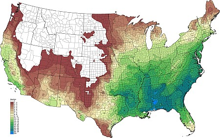 63 density gradient of native oak quercus species per 10 000 km2 bonapc2015